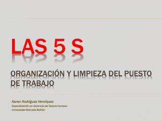 LAS 5 s  organización Y LIMPIEZA DEL PUESTO DE TRABAJO
