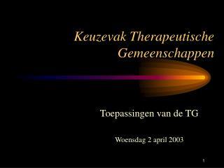 Keuzevak Therapeutische Gemeenschappen