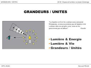 GRANDEURS / UNITES
