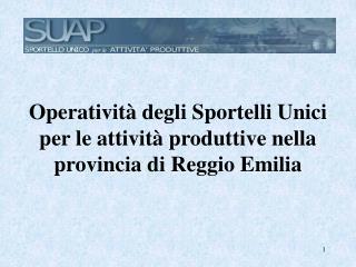 Operatività degli Sportelli Unici per le attività produttive nella provincia di Reggio Emilia