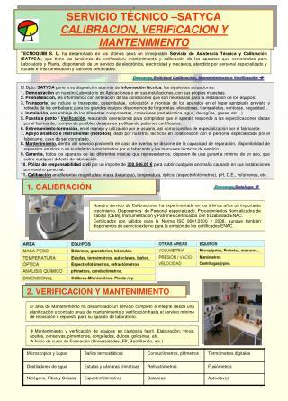 SERVICIO TÉCNICO –SATYCA  CALIBRACION, VERIFICACION Y MANTENIMIENTO