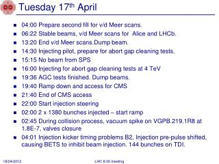 Tuesday 17 th  April