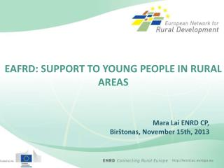 EAFRD: SUPPORT TO YOUNG PEOPLE IN RURAL AREAS