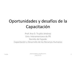 Oportunidades y desafíos de la  Capacitación
