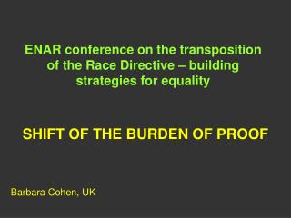 ENAR conference on the transposition of the Race Directive – building strategies for equality