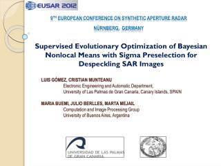9 TH  EUROPEAN  conference on synthetic aperture  radar NÜrNberg ,   germany