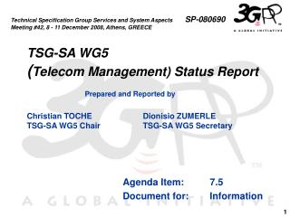 TSG-SA WG5 ( Telecom Management) Status Report