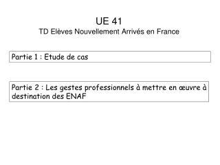 UE 41  TD Elèves Nouvellement Arrivés en France