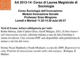 Corso Sociologia dell'Innovazione:  Modulo Innovazione Sociale  Professor Enzo Mingione