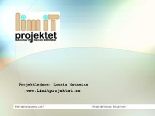 Projektledare: Lousia Hatamian limitprojektet.se