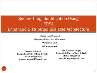 Secured Tag Identification Using  EDSA  (Enhanced Distributed Scalable Architecture)