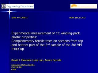 Experimental measurement of CC winding-pack elastic  properties :