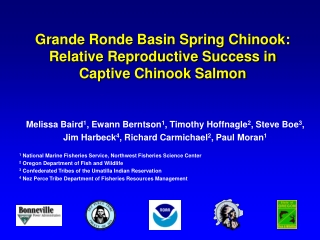 Grande Ronde Basin Spring Chinook:  Relative Reproductive Success in Captive Chinook Salmon