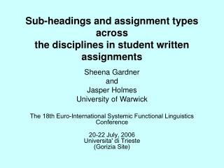 Sub-headings and assignment types across the disciplines in student written assignments