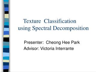 Presenter:  Cheong Hee Park          Advisor: Victoria Interrante