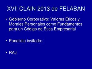 XVII CLAIN 2013 de FELABAN