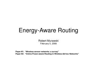 Energy-Aware Routing