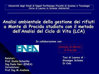 Università degli Studi di Napoli Parthenope-Facoltà di Scienze e Tecnologie