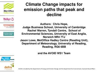 Climate Change impacts for emission paths that peak and decline Authors:  Chris Hope,