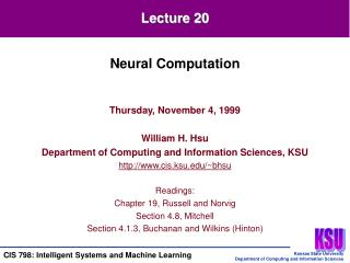 Thursday, November 4, 1999 William H. Hsu Department of Computing and Information Sciences, KSU