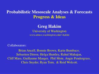 Probabilistic Mesoscale Analyses & Forecasts Progress & Ideas