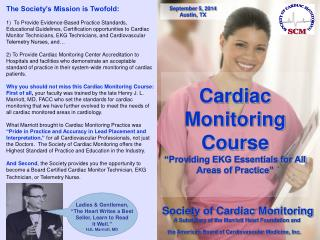 "Cardiac Monitoring Course  ""Providing EKG Essentials for All Areas of Practice"""
