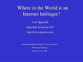 Where in the World is an Internet Infringer
