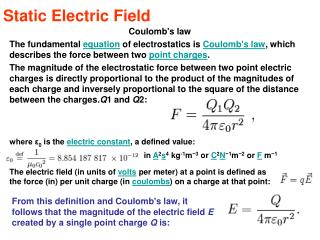 Static Electric Field