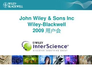 John Wiley & Sons Inc Wiley-Blackwell  2009  用户会