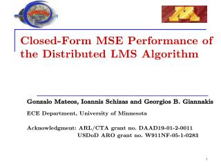 Closed-Form MSE Performance of  the Distributed LMS Algorithm