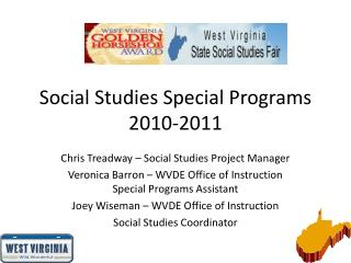Social Studies Special Programs 2010-2011