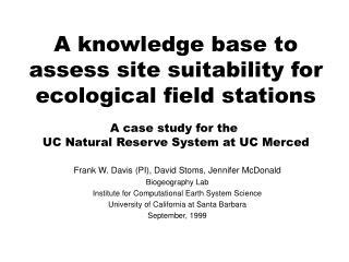 A knowledge base to assess site suitability for ecological field stations