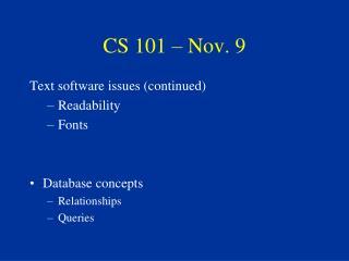 CS 101 – Nov. 9