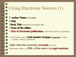 Citing Electronic Sources (1)