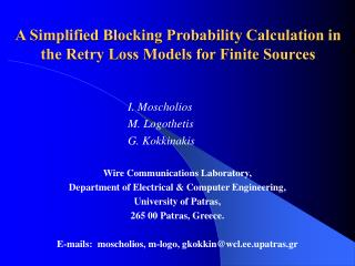 A Simplified Blocking Probability Calculation in the Retry Loss Models for Finite Sources