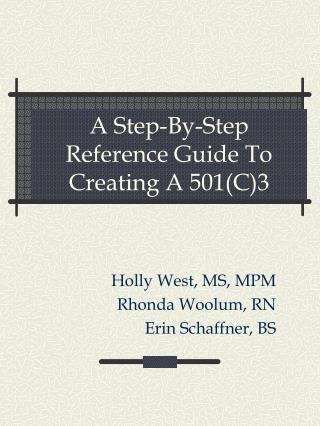 A Step-By-Step Reference Guide To Creating A 501C3