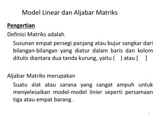 Model Linear dan Aljabar Matriks