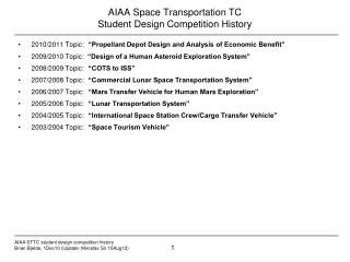AIAA Space Transportation TC Student Design Competition History