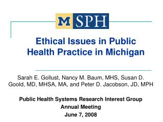 Ethical Issues in Public Health Practice in Michigan