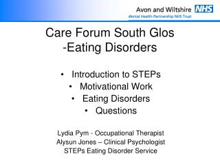 Care Forum South  Glo s -Eating Disorders