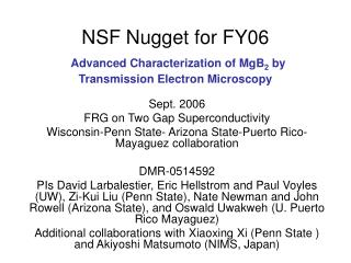 NSF Nugget for FY06 Advanced Characterization of MgB 2  by Transmission Electron Microscopy