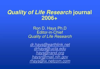 Quality of Life Research  journal 2006+