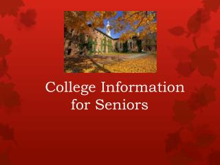 College Information  for Seniors
