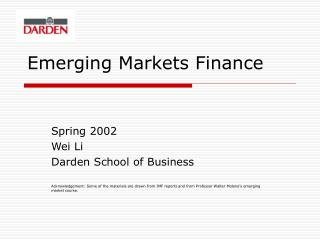 Emerging Markets Finance
