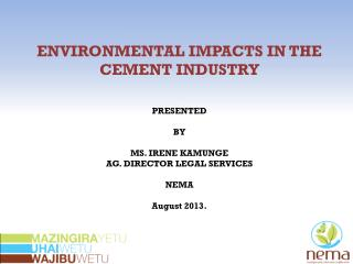 ENVIRONMENTAL IMPACTS IN THE CEMENT INDUSTRY