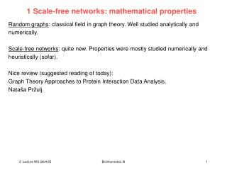 1 Scale-free networks: mathematical properties