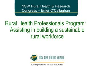 NSW Rural Health & Research Congress –  Emer  O'Callaghan