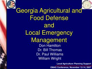 Georgia Agricultural and Food Defense and   Local Emergency Management