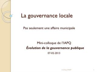 La gouvernance locale