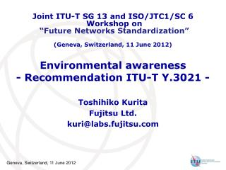 Environmental awareness - Recommendation ITU-T Y.3021 -